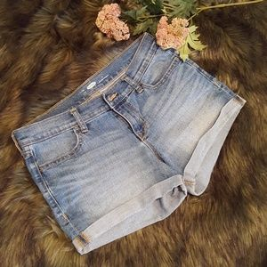 Rolled Blue Jean Shorts